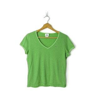 Lacoste 44 green striped v-neck t-shirt